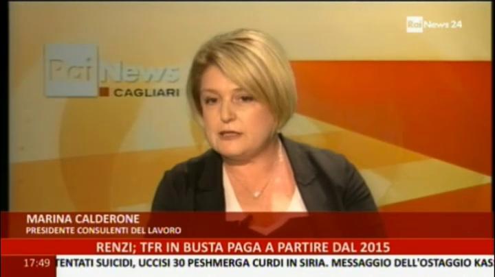 Sky TG 24 del 06.10.2014, Guida al Tfr, interviene Marina Calderone