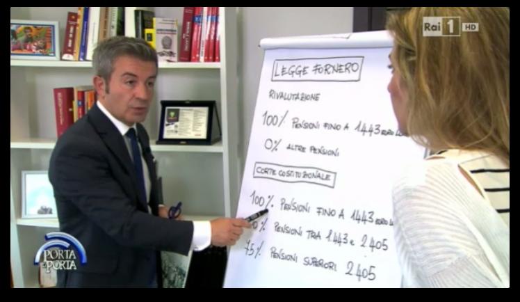 """Rai 1 """"Porta a Porta"""" su Pensioni del 11.05.2015, interviene Enzo De Fusco"""