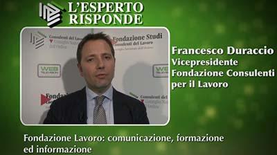 Francesco Duraccio - I nuovi obiettivi di Fondazione Lavoro