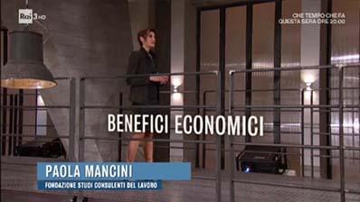 Rai Tre. Il posto giusto. Paola Mancini su Incentivi assunzioni.