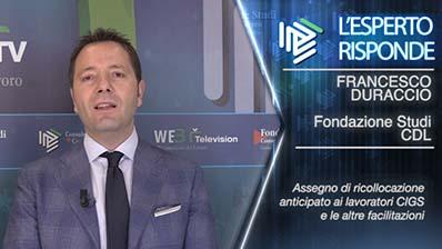 Francesco Duraccio - Assegno di ricollocazione in CIGS