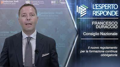 Francesco Duraccio. Il nuovo regolamento per la formazione continua obbligatoria