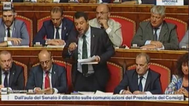 Rai 1 del 20.08.2019 - Intervento di Salvini al Senato
