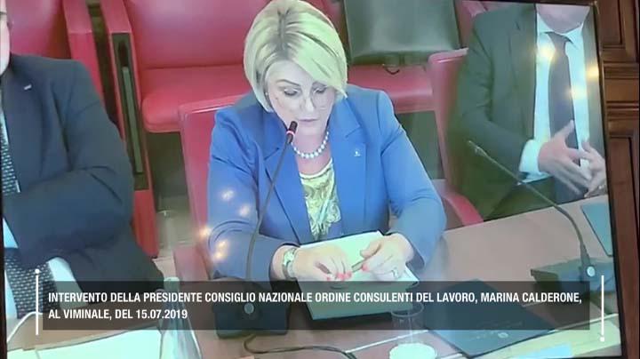 Intervento della Presidente Marina Calderone al Viminale il 15.07.2019