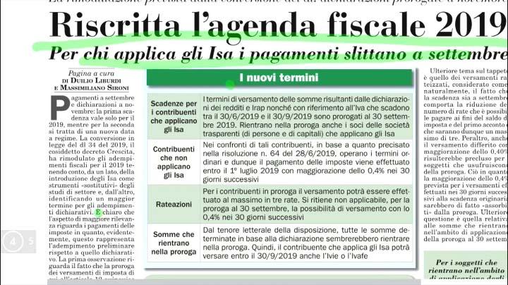 Rassegna Stampa - 01.07.2019