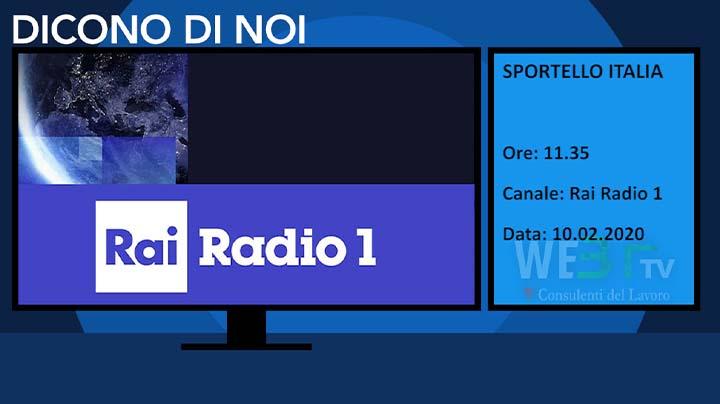Rai Radio1 Sportello Italia del 10.02.2020